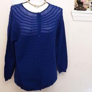 Escada royal blue / purple semi-sheer cardigan XL